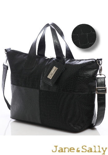 (Jane&Sally)Traveller Series Grid Leather Joint Travel Bag(Black Crocodile)