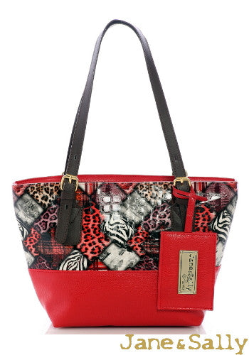 (JaneSally)Patchwork Plain PU Leather And Montage Pattern Tote Bag Shoulder Bag Handbag With Adjustable handle Strap(Small)-Red Leopard