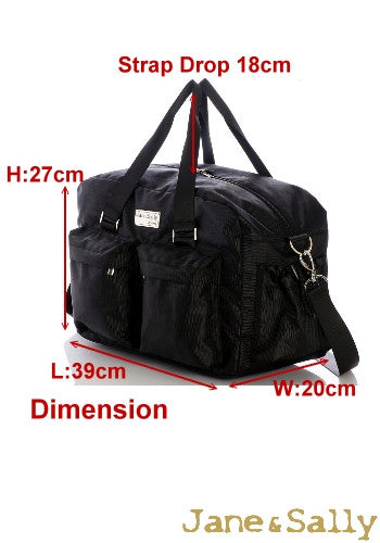 (JaneSally)Minimalist Style Nylon Waterproof Travel Bag Handbag Shoulder Bag With Detachable Strap Cross Body Bag(Black Leopard)