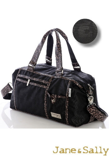 (Jane&Sally)Traveller Series Handy Style Travel Bag(Black Leopard)