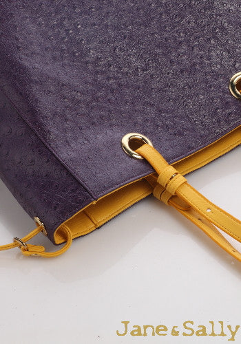 (JaneSally)Plain PU Leather Double-sided Tote Bag Adjustable handle Shoulder Bag Shopping Bag (Ostrich purple with yellow color)