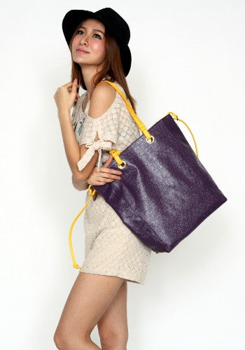 (Jane&Sally)Allure Contrast Colors Tote Bag(Ostrich purple with yellow color)