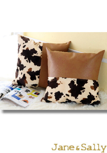 (JaneSally)PU Leather Patchwork With Polyester Fluff Fabric Pillowcase Cushion Cover(Cow Spot)