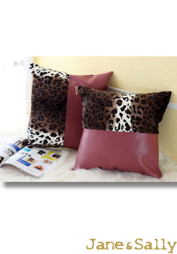 (Jane&Sally)Split Joint Leather Pillow Case (Brown Leopard Print)