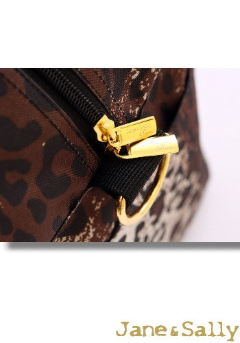(JaneSally)Leopard Print Nylon Waterproof Travel Bag Luggage Bag Weekend Bag Sports Bag Shoulder Bag With Detachable Strap