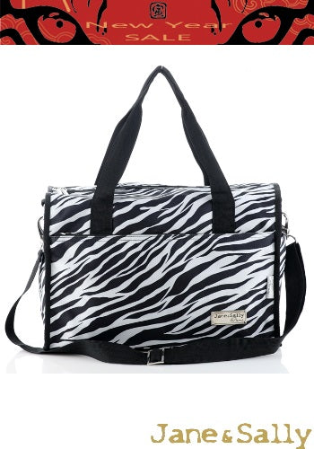 (JaneSally)LOHAS Zebra Pattern Nylon Waterproof Travel Bag Luggage Bag Weekend Bag Shoulder Bag With Detachable Strap Cross Body Bag(Small)