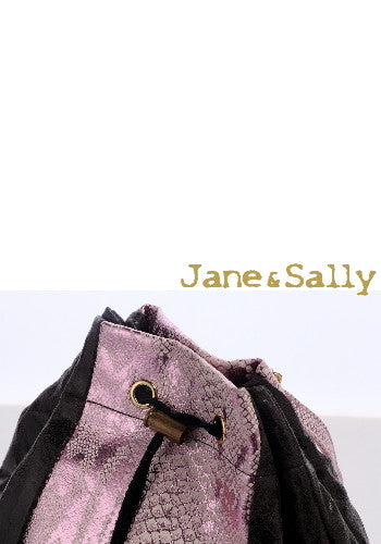 (Jane&Sally)Colorful Patchwork Backpack(Bright Pink)