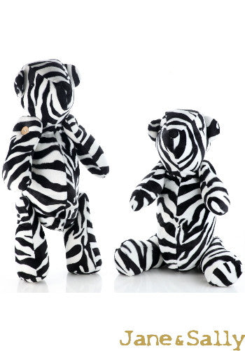 (Jane&Sally)Sweet Bear Two Way Fluff Pillow(Including Blanket)-Zebra