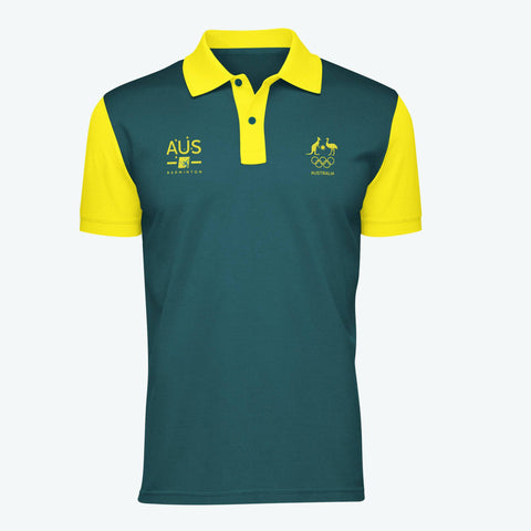 AOC Badminton Adults Green Supporter Polo