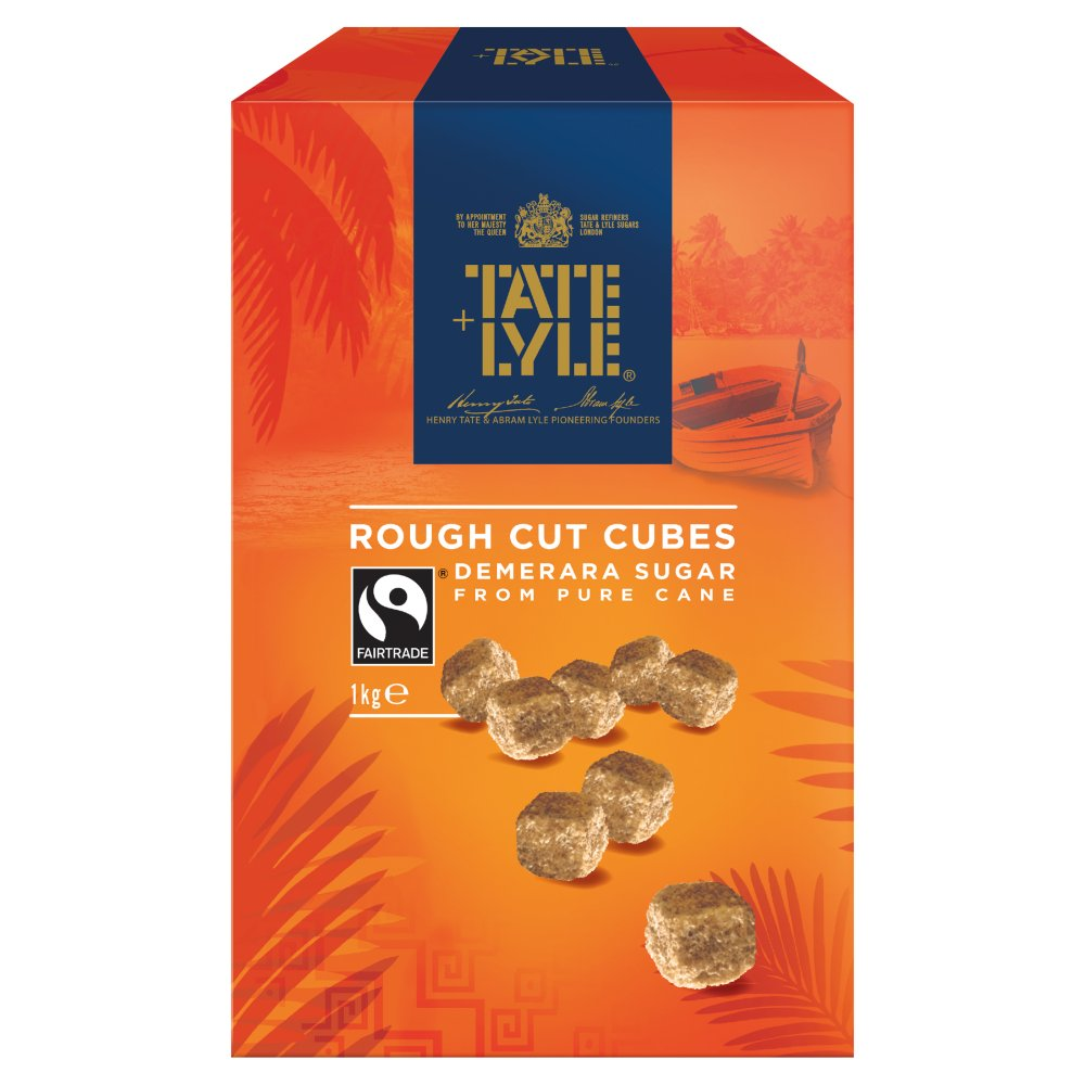 Tate & Lyle Fairtrade Cane Sugar Demerara Rough Cut Unrefined Sugar Cubes