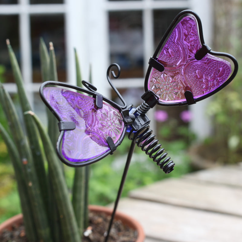 Purple Meadow Butterfly Plant Pot Stake available at garden gifts