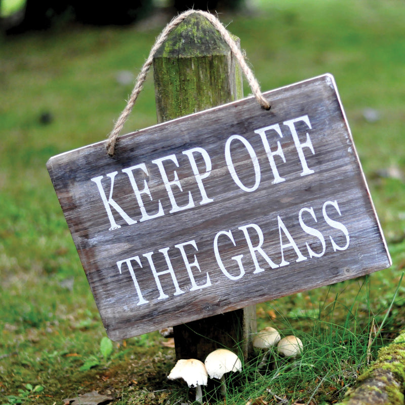 Wooden Garden Sign - Keep Off The Grass