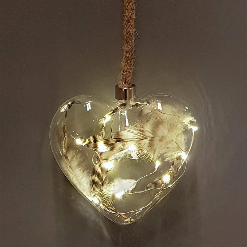 glass heart feather bauble with led lights