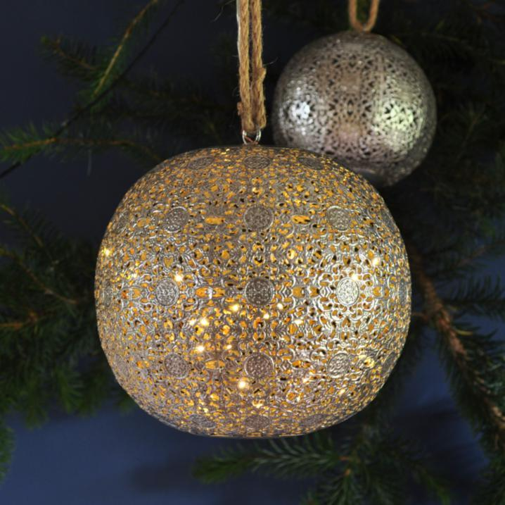 Decorative LED Antique Silver Bauble