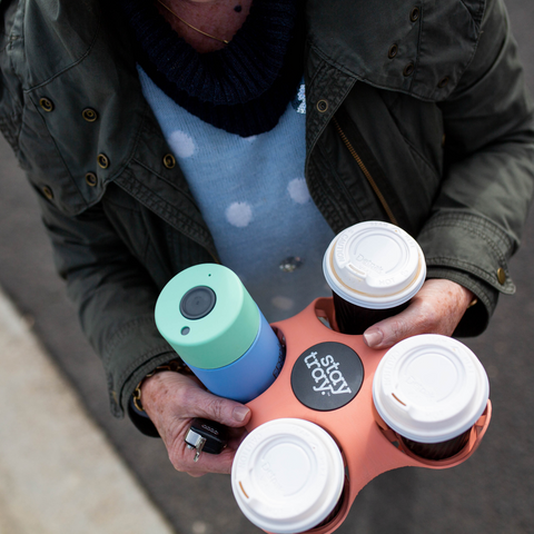 Stay tray 'Pinky' Limited Edition 4 Cup Reusable Tray