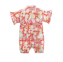 Load image into Gallery viewer, Red with floral prints Japanese Stylish Kimono jumpsuit - LittleTheoryCo