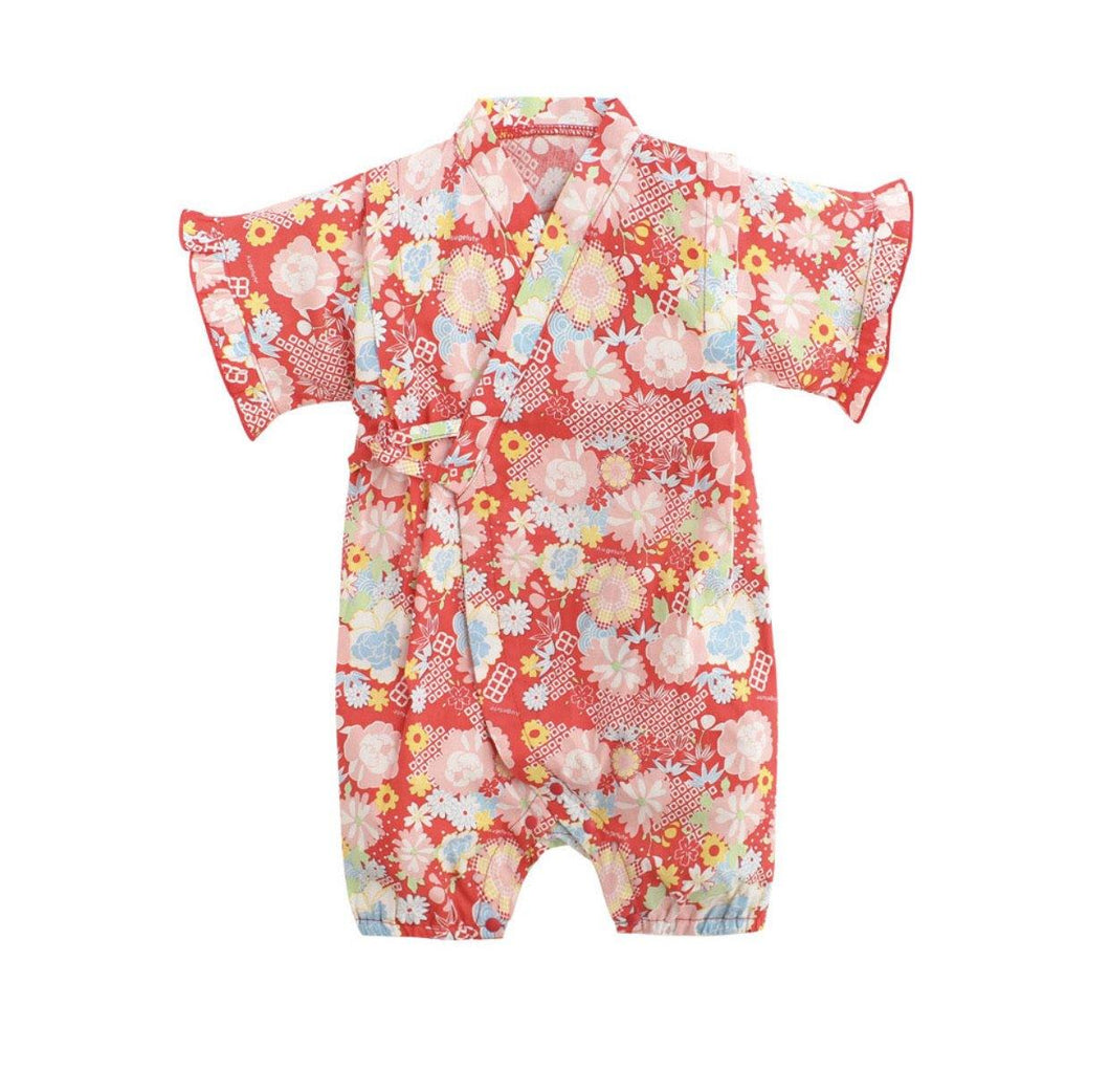 Red with floral prints Japanese Stylish Kimono jumpsuit - LittleTheoryCo