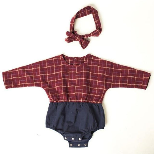Korean Style Baby/Toddler Stylish Romper(Red&Blue with Hairband) - LittleTheoryCo
