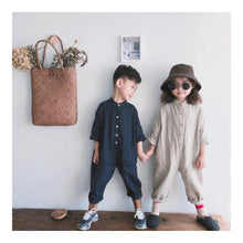Load image into Gallery viewer, Korean Style Unisex Toddler/Kids linen jumpsuit - LittleTheoryCo