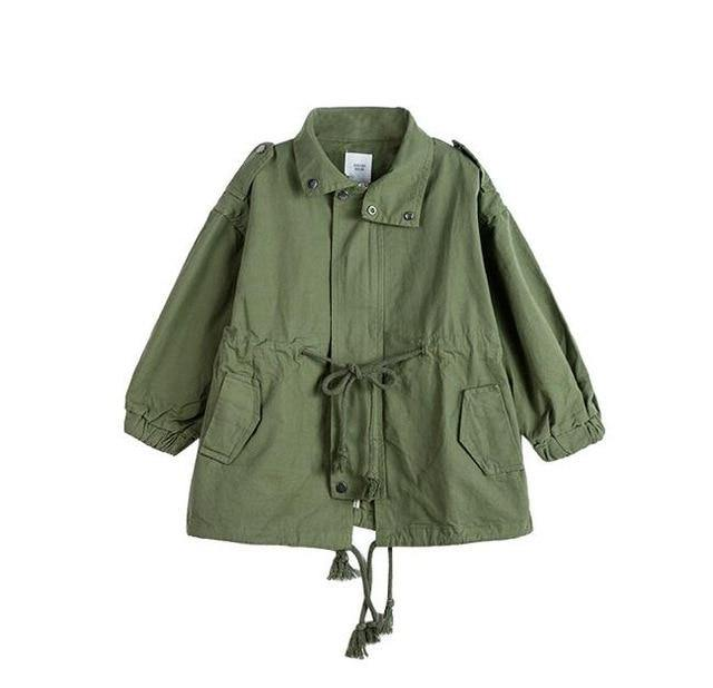Green Korean Style long sleeve trench coat - LittleTheoryCo
