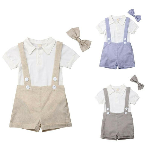 Summer Style Baby Boy Shirt suspender with tie - LittleTheoryCo