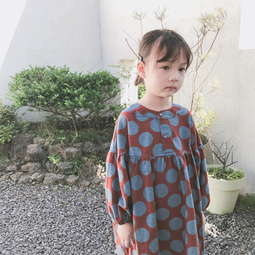 Korean Style Fashionable long sleeve dot print oversized red dress - LittleTheoryCo