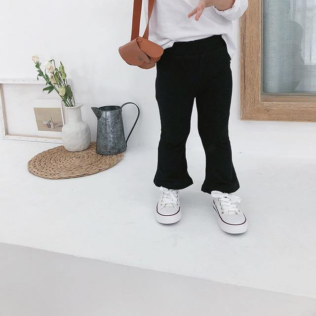Solid color bell-bottom cotton long pant - LittleTheoryCo