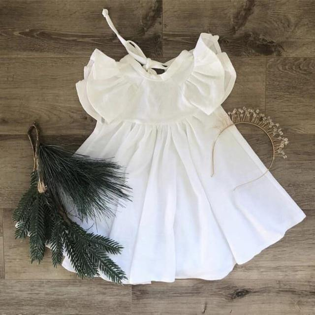 Chic European Style Toddler/Kids Linen Dress(White with Ruffle Sleeve) - LittleTheoryCo