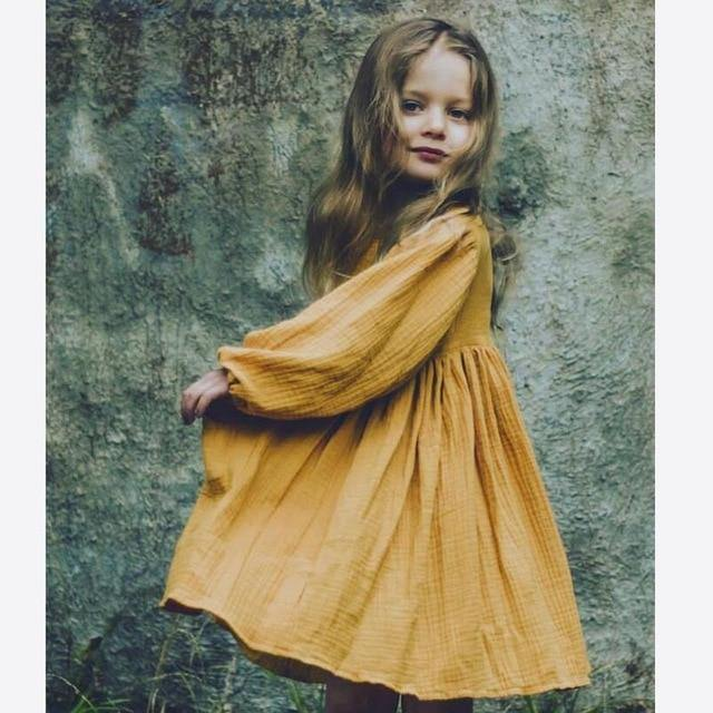 Chic European Style Toddler/Kids Linen Dress(Yellow) - LittleTheoryCo