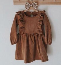 Load image into Gallery viewer, Chic European Style Toddler/Kids Linen Ruffle Dress(Brown & Long Sleeve) - LittleTheoryCo