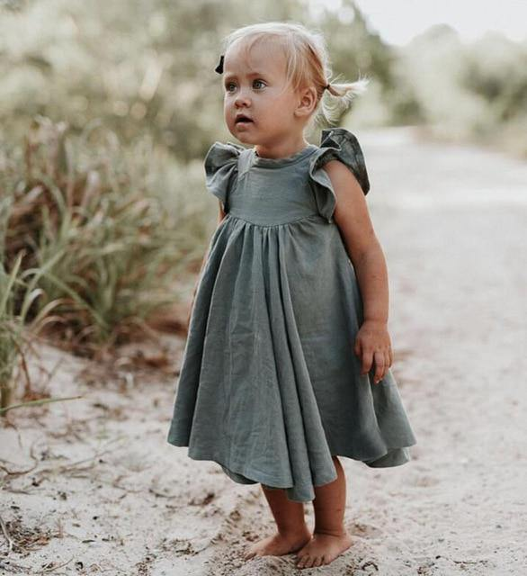 Chic European Style Toddler/Kids Linen Dress(Green with Ruffles Sleeve) - LittleTheoryCo