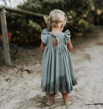 Load image into Gallery viewer, Chic European Style Toddler/Kids Linen Dress(Green with Ruffles Sleeve) - LittleTheoryCo