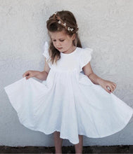 Load image into Gallery viewer, Chic European Style Toddler/Kids Linen Dress(White with Ruffle Sleeve) - LittleTheoryCo