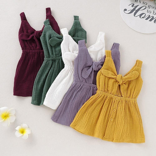 Organic Cotton Baby Girls Dress Summer with Bow tie sleeveless Dress - LittleTheoryCo