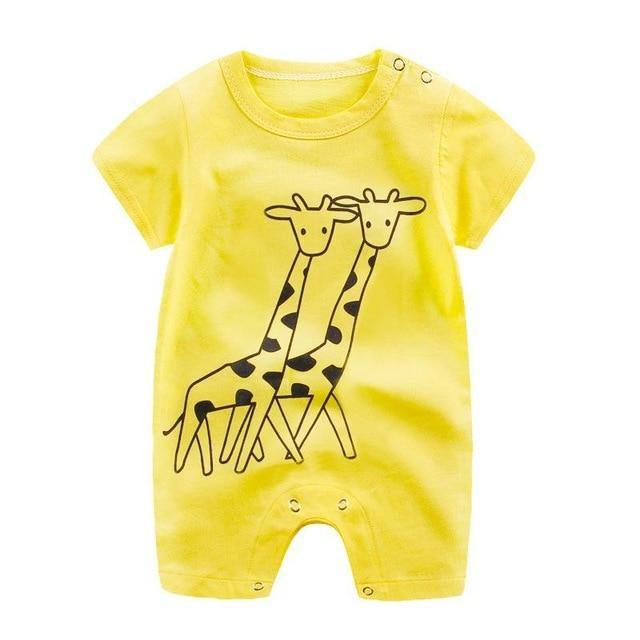 Giraffe Prints cotton baby jumpsuit with short sleeve - LittleTheoryCo