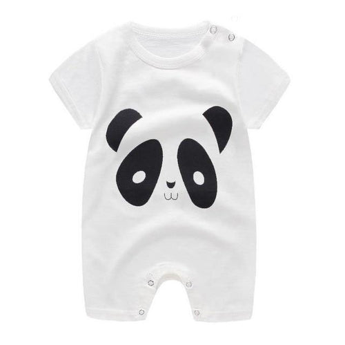 Panda Prints Cotton baby jumpsuit with short sleeve - LittleTheoryCo
