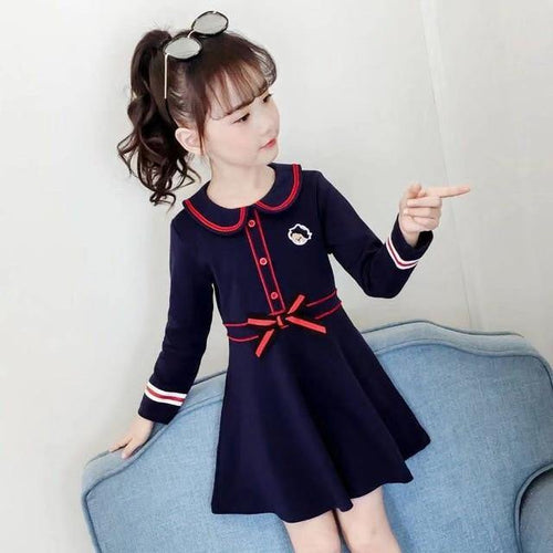Blue Casual Stylish long sleeve toddler/kids dress - LittleTheoryCo