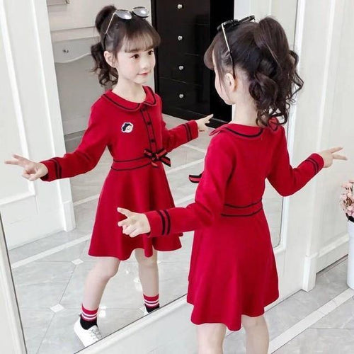 Red Casual Stylish long sleeve toddler/kids dress - LittleTheoryCo
