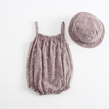 Load image into Gallery viewer, Summer baby girl sleeveless romper with matching cap - LittleTheoryCo