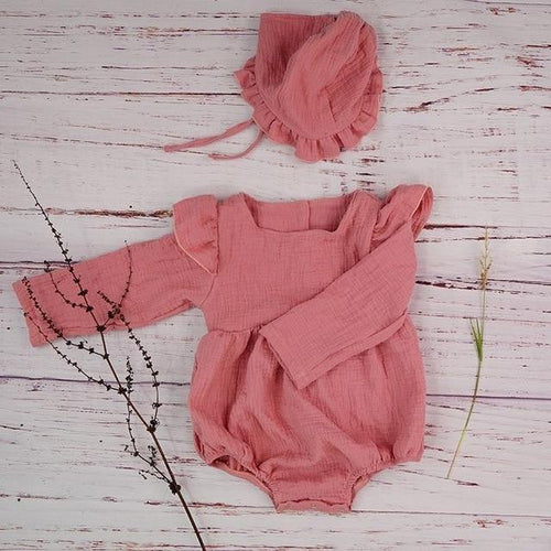Autumn style Boutique linen baby girl long sleeve baby romper(Pink) - LittleTheoryCo
