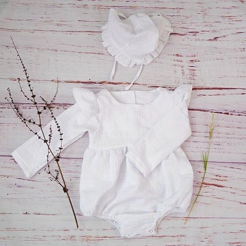 Autumn style Boutique linen baby girl long sleeve baby romper(White) - LittleTheoryCo