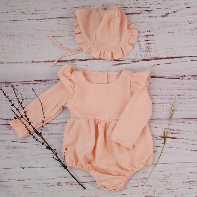 Autumn style Boutique linen baby girl long sleeve baby romper - LittleTheoryCo