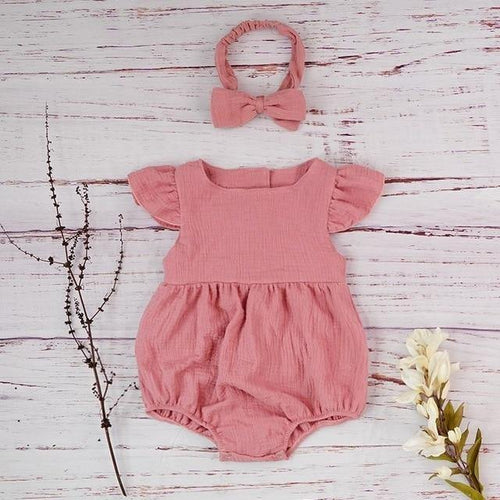 Autumn style Boutique linen baby girl short sleeve baby romper(Pink) - LittleTheoryCo