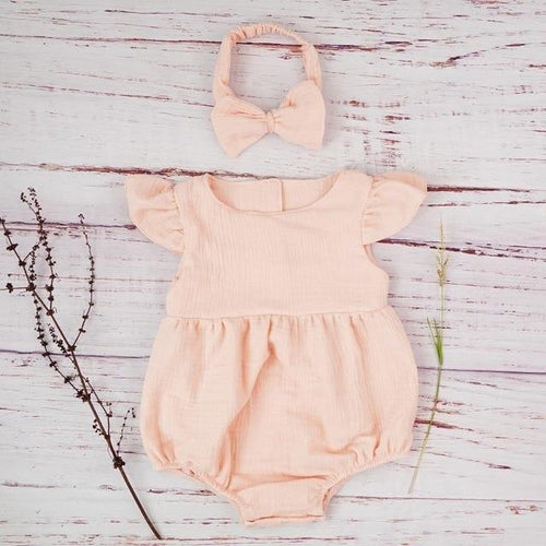 Autumn style Boutique linen baby girl Short sleeve baby romper(Light pink) - LittleTheoryCo