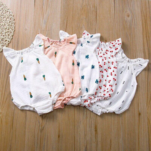 Summer Baby Girl Sleeveless Romper with prints - LittleTheoryCo
