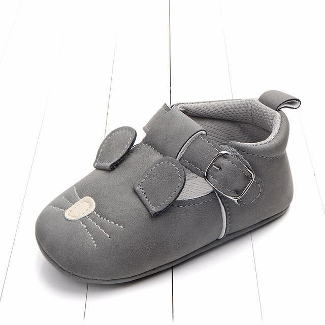 Mouse Moccasins toddler shoes(Dark Grey) - LittleTheoryCo