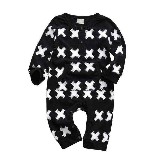 Cross prints B&W Fashion Style Baby jumpsuit - LittleTheoryCo