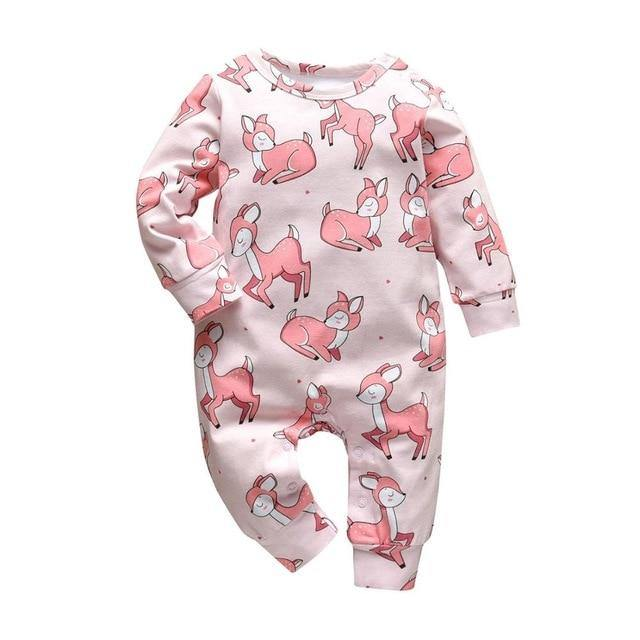 Girly Fashion Spring/Summer Style Baby jumpsuit with Pink deer prints - LittleTheoryCo