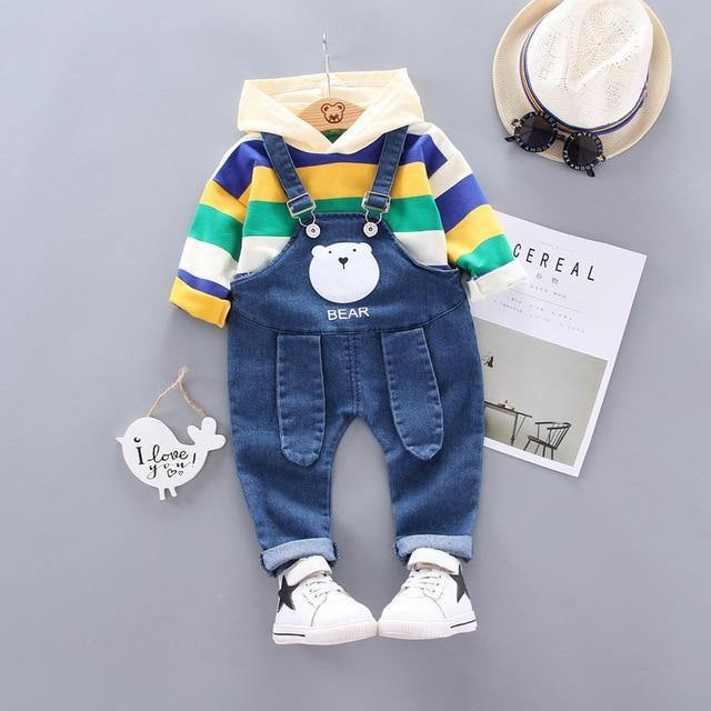 Summer/Spring Stylish baby hooded sweatshirt and suspender(Stripes) - LittleTheoryCo