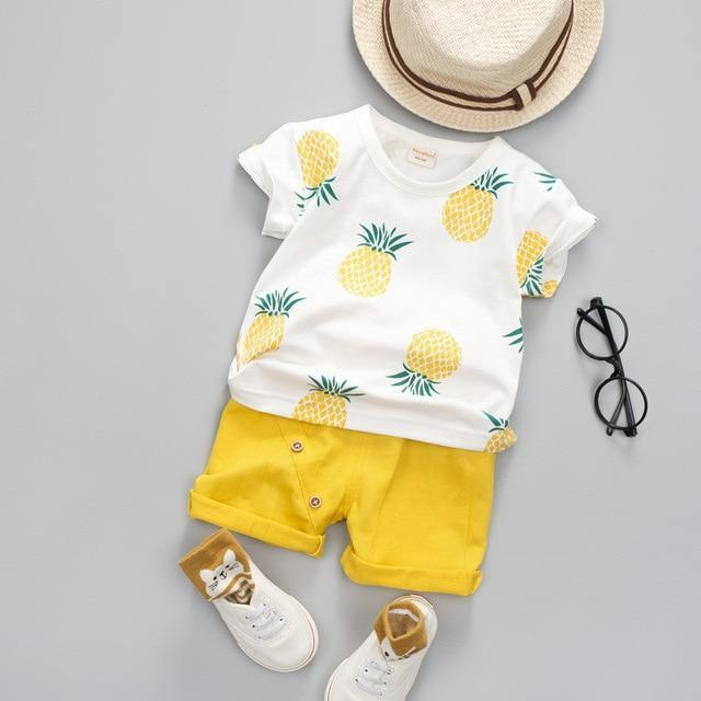 Pineapple Prints Toddler/Infant Clothing Set Short Sleeve shirt & yellow Pants - LittleTheoryCo